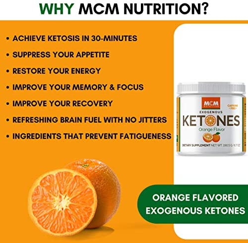 MCM Nutrition - Exogenous Ketones Supplement & BHB - Caffeine Free and Suppresses Appetite - Instant Keto Mix That Puts You into Ketosis Quick & Boosts The Keto Diet (Orange Flavor - 15 Servings) 9