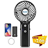 Battery Powered Hand Fan, Small Fan Battery Operated, Portable Rechargeable Handheld Fans, USB Powered Fan with 5200mAh Power Bank, Strong Wind for Traveling, Camping, Concert, Hurricane(5-20H)