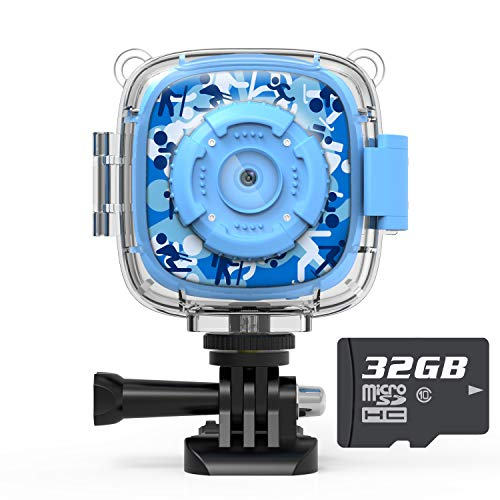 AKAMATE Kids Action Camera Waterproof Video Digital Children Cam 1080P HD Sports Camera Camcorder for Boys Girls, Build-in 3 Games, 32GB SD Card