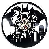 Superman VS Batman Art Vinyl Wall Clock Gift Room Modern Home Record Decoration Vintage