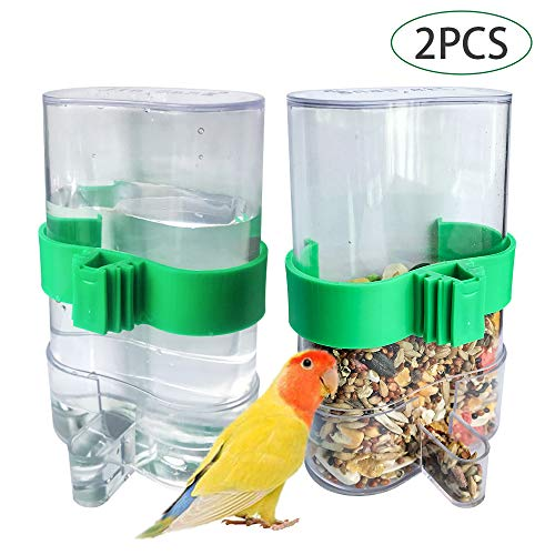BLSMU Parakeet Water Dispenser,No-Mess Parrot Feeder,Macaw Waterer,Cockatiel Cage Accessories,Automatic Feeding for African Greys,Budgies,Finch and Other Bird 2Pcs