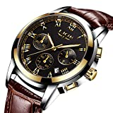 Mens Watches Leather Band Waterproof 30M Calendar Wrist Watch for Men Teenager Boys, Fashion Casual Luxury Business Quartz Chronograph