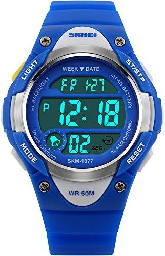 Kids Digital Watches Children's Multifunction Calendar Outdoor Sport Waterproof Blue Wristwatch