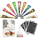 Temporary Tattoo Kit-9Color Temporary Tattoo Paste Cone with 107 Pcs Template Set,1 x Applicator Bottle and 5 x Plastic Nozzle.