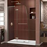 DreamLine Aqua Ultra 45 in. Width, Frameless Hinged Shower Door, 5/16' Glass, Brushed Nickel Finish