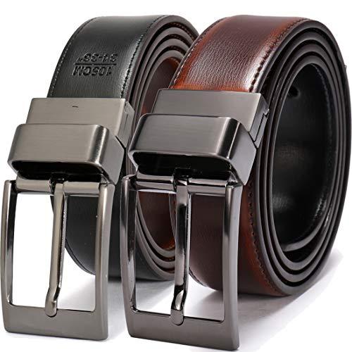 Beltox Fine Men's Dress Belt Leather Reversible 1.25' Wide Rotated Buckle Gift Box(Black Buckle with Cognac/Black Belt,48-50)