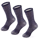 MERIWOOL Merino Wool Hiking Socks for Men and Women – 3 Pairs Midweight Cushioned – Warm n Breathable - Large/Blue