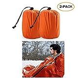 Emergency Sleeping Bag - Waterproof Lightweight Thermal Bivy Sack - Survival Blanket Bags Portable Nylon Sack Camping, Hiking, Outdoor, Activities (2 Pack)