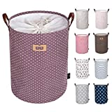 DOKEHOM DKA0822PEL 19' Thickened Large Laundry Basket -(9 Colors, 19' and 22')- with Durable Leather Handle, Waterproof Round Cotton Linen Collapsible Storage Basket (Purple, L)