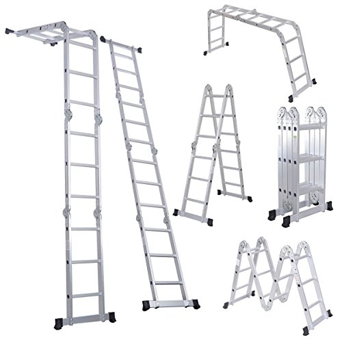 Comie 330lb 12.5ft Multi Purpose Aluminum Folding Step Ladder Foldable Lightweight Scaffold Ladder W/2 Plate (12.5ft)