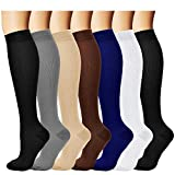 7 Pairs Compression Socks For Women and Men - Best Medical, Nursing, for Running, Athletic, Edema, Diabetic, Varicose Veins, Travel, Pregnancy & Maternity - 15-20mmHg, Small / Medium,  Assorted 1