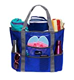 Dejaroo Beach Bag - Mesh Beach Bag - Large lightweight beach tote with 8 pockets including an inside zippered pocket