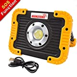 LED Work Light, Portable COB Flood Lights, Job Site Lighting,Builtin Rechargeable Battery Power Bank, IP55 Waterproof Rate for Outdoor Camping,Hiking,Car Repairing and SOS Emergency Mode