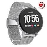 YoYoFit Smart Fitness Watch with Heart Rate Monitor, Waterproof Fitness Activity Tracker Step Counter with Music Player Control, Customized Face Look GPS Pedometer Watch for Women Men (Silver)