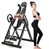 Bigzzia Gravity Heavy Duty Inversion Table with Headrest & Adjustable Protective Belt Back Stretcher Machine for Pain Relief Therapy … (Black)