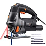 Tacklife Jigsaw, Upgraded 6.7 Amps 3000 SPM Jig Saw with Laser, 6 Blades, Variable Speed, Aluminum Base, Ideal for Cutting Wood, Plastic, Aluminium - PJS04A