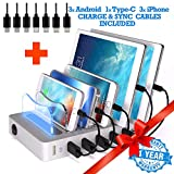 TIMSTOOL 6 USB Charging Station For Multiple Devices -No Buzz - LED indication - Smart Fast Charging Dock compatible with iPhone iPad CellPhone Silver