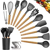 Silicone Cooking Utensils Kitchen Utensil Set - 11 Pieces Natural Wooden Handles Cooking Tools Turner Tongs Spatula Spoon for Nonstick Cookware - Best Kitchen Tools (BPA Free, Non Toxic-14PCS)