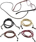 Eyeglasses Holder Strap - Premium Leather [Pack of 4 + Bonuses] - Glasses Holder Lanyard Chain Cord Necklace - Eyewear Retainer for Men Women Boys Girls - Never Lose Glasses Again