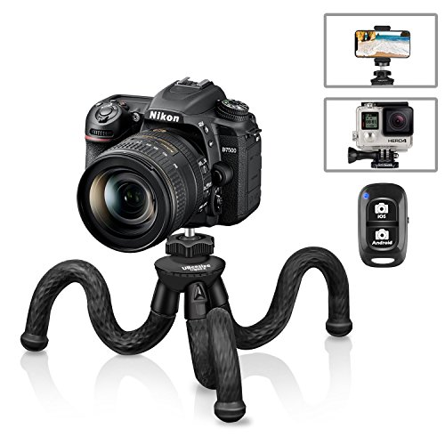 Flexible Camera Tripod, UBeesize 12 Inch Mini Tripod Stand GoPro/Action Cam/DSLR Canon Nikon Sony, Smartphone Tripod Stand with Cell Phone Holder Clip For iPhone/Android (3 in 1) – Waterproof