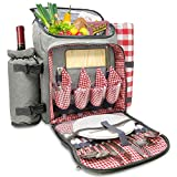 Nature Gear XL Picnic Pack - 4 Person Insulated Design - Waterproof Blanket & Full Cutlery Set