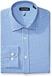 Nautica Men's Non-Iron Tech Classic Fit Spread Collar Solid Dress Shirt, Medium Blue Check, 16.5 34/35