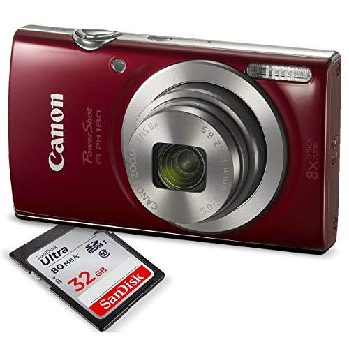 Canon-PowerShot-ELPH-180-Digital-Camera-Red-w-32GB-SD-Card