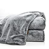 Double Sided Faux Fur Throw Blanket Silky Soft Oversized Afghan Machine Washable, Grey Striped Mink Chinchilla Shadow Fox 55 by 70 Inch (Iced Dream)