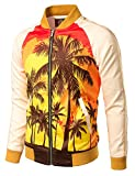 Product review for JOGAL Mens Zipper Bomber Jacket Lettermen Style Sunset Coconut Tree Couples Top