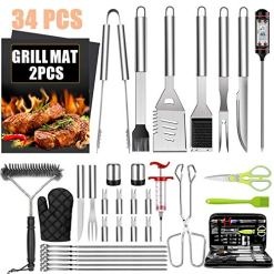 34Pcs BBQ Grill Accessories Tools Set
