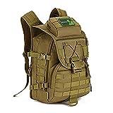 Huntvp 40L Military Tactical Backpack MOLLE Assault Daypack Pack Gear Rucksack Large Waterproof Bag Sport Outdoor for Hunting Camping Trekking,Dark Brown