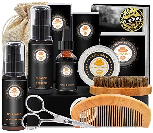 Upgraded Beard Grooming Kit w/Beard Conditioner,Beard Oil,Beard Balm,Beard Brush,Beard Shampoo/Wash,Beard Comb,Beard Scissors,Storage Bag,Beard E-Book,Beard Growth Care Gifts for Men 3
