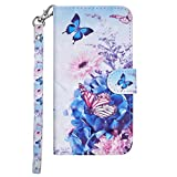 iPhone 6 Plus/iPhone 6S Plus Wallet Case, UNEXTATI Fashion Ultra-Thin PU Leather Flip Wallet Case with Wrist Strap and Card-Slot for Apple iPhone 6 Plus/iPhone 6S Plus, Flower - Blue