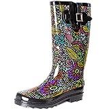 SheSole Women's Waterproof Rubber Rain Boot Black US 7