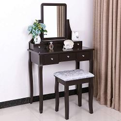 BEWISHOME Vanity Table Set with Mirror & Cushioned Stool Dressing Table Vanity Makeup Table 5 Drawers 2 Dividers Movable Organizers Espresso FST01Z