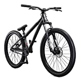 Mongoose Fireball Moto Hardtail Mountain Bike with 26-Inch Wheels in Grey, Tectonic T1 Aluminum Frame, 32/14T Single-Speed Drivetrain, and Mechanical Disc Brakes