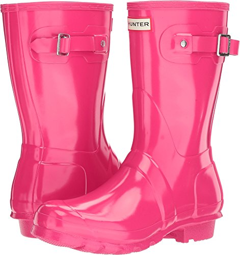 Hunter Women's Original Short Gloss Bright Pink Rain Boots - 8 B(M) US