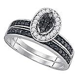 FB Jewels .925 Sterling Silver Womens Black Color Enhanced Diamond Cluster Bridal Wedding Engagement Ring Band Set 1/2 Cttw (I2-I3 clarity; Black color)