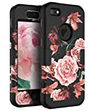 RabeMall Case for iPhone 5,Case for iPhone 5S,Case for iPhone SE Pretty Flowers for Girls/Women Anti-Fingerprint Scratch-Resistant Three Layer Shock Resistant Protective Cover,Floral Black