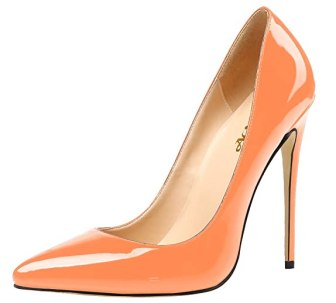 AOOAR Women's High Heel Solid Orange Patent Party Pumps 13 M US