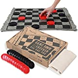 Giant Checkers Board Game for Kids and Adults, 3 in 1 Jumbo Tic Tac Toe Set with Reversible Rug, Play the Classic Indoor and Outdoor Activity for Family on the Table, Floor or Lawn