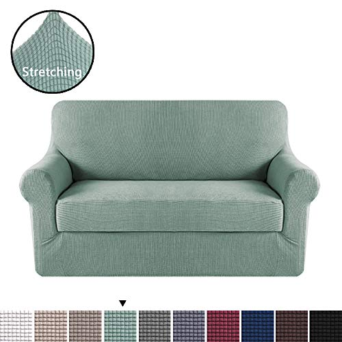 H.VERSAILTEX 2 Pieces Loveseat Slipcovers Stylish Furniture Cover/Protector, Stay in Place with Lycra Spandex Stretch Durable Fabric, Sage Color