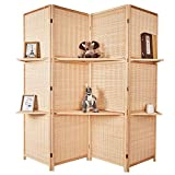 Cocosica Bamboo Room Divider, Wall Divider & 4 Panel Folding Privacy Screens with Removable Display Shelves(Nature Bamboo)