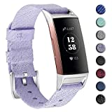 hooroor Woven Fabric Breathable Replacement Bands Compatible for Fitbit Charge 3 and Charge 3 SE Fitness Activity Tracker, Soft Accessory Band Wristbands Strap Women Men (Bling Light Purple, Large)