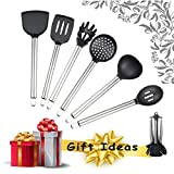 Cooking Utensils-Set with Rotating Holder - is Set of 6 Silicone Kitchen Utensils with Stainless Steel Heat Resistant Handle and Rotating Hanger. Nice Wedding Registry Ideas for you.
