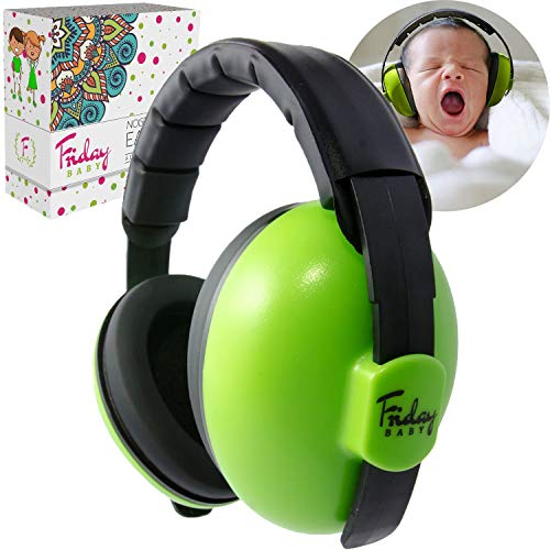 Fridaybaby Baby Ear Protection (0-2+ Years) - Comfortable and Adjustable Noise Cancelling Baby Ear Muffs for Infants & Newborns | Baby Headphones Noise Reduction for Concerts Fireworks Travels (Green)