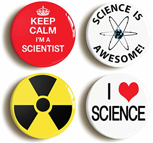 Scientist Science Button Pin Set (Size is 1inch Diameter)