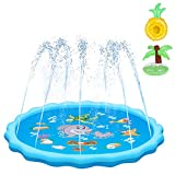 QPAU Sprinkler for Kids, Sprinkle and Splash Play Mat 68',Outside Toy Water Toys for Kids Outdoor, Outdoor Toys for Toddlers Age 3-5