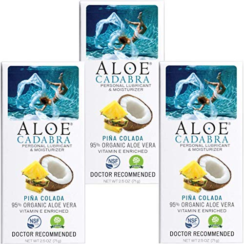 Aloe Cadabra Natural Personal Lubricant and Organic Sex Lube for Men, Women & Couples, Flavored Pina Colada (Pack of 3)
