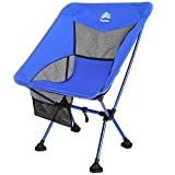 BERSERKER OUTDOOR Ultralight Compact Folding Camping Chairs Portable Lightweight Backpack Hiking Chair with All-Terrain Large Feet& Heavy Duty 300lbs for Outdoor Camp, Beach, Picnic, Travel(Blue)